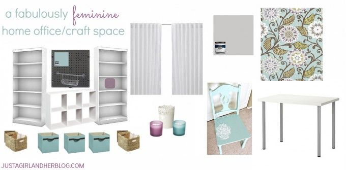 Gorgeous plans for a feminine home office/ craft space! | Just a Girl and Her Blog