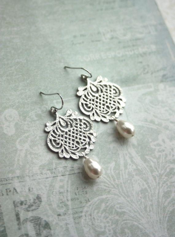 White Silver Plated Lace Filigree Earrings Filigree by Marolsha
