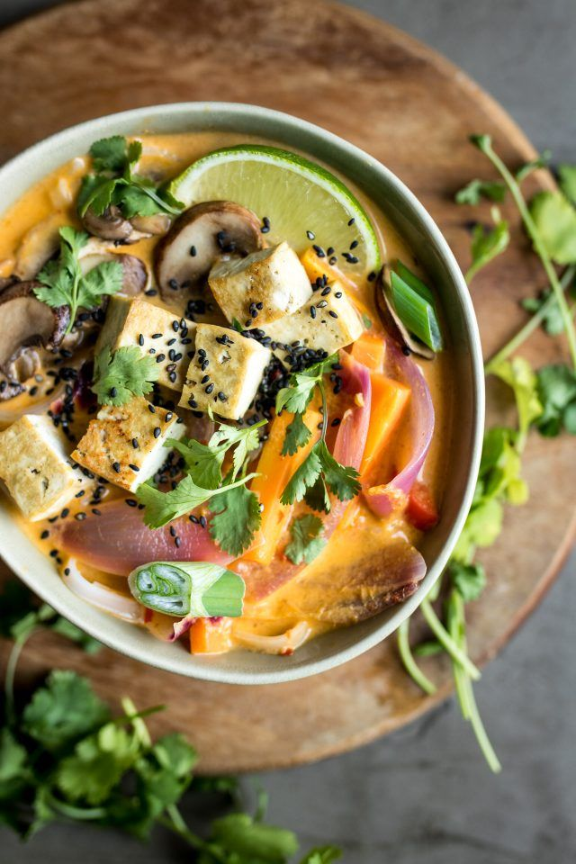 Vegan Lemongrass Coconut Noodle Soup - Absolutely packed full of flavour and texture!