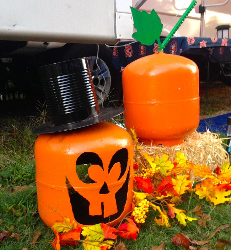 Decorating the RV with old propane tanks.