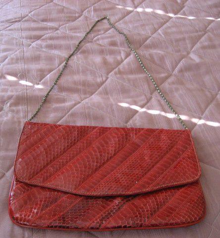 Vintage Red Snakeskin Clutch Purse by Varon Golden Chain Strap