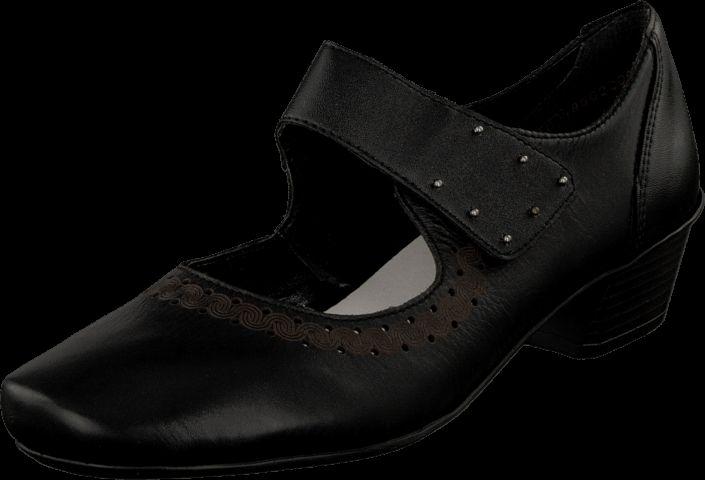 Køb Rieker 53856-01 Black Sorte sko | Pumps med lav hæl for Damer ✓ Fri fragt ✓ Fri retur ✓ Hurtig leverance. Prisgaranti!