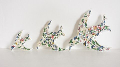 Mosaic swallows trio.