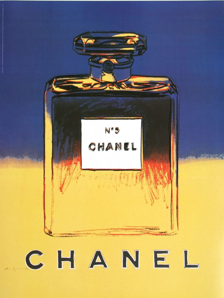 This is an original vintage poster created in the 1990's for Chanel No. 5 Perfume. The poster uses an image created by the American artist Andy Warhol (1928 -1987), noted for his contribution to the Pop Art movement. Check it out on our website: http://www.postergroup.com/category_search.asp?keyword=CHANEL Learn more about the series on our blog: http://rossartgroup.wordpress.com/2013/10/30/andy-warhol-chanel-no-5/
