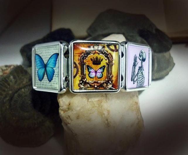 Vintage Links Bracelet Deux -Elasticated, metallised acrylic, resin bracelet with a selection of altered art, digital collages made by The Clockwork Jewel.   Size of each link -2.4cm x 2.4cm  Price £22.99: Digital Collages, Image Bracelets, Metallised Acrylic, Link Bracelets, Link 2 4Cm, Vintage Links