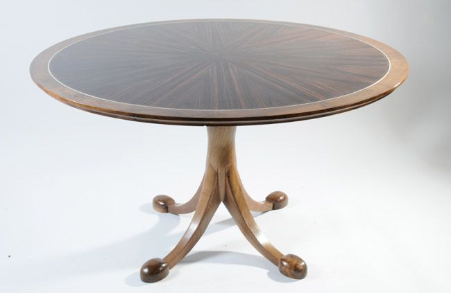 Dual purpose table, a hall table or a dining table. Top made from Macassar Ebony with a silver banding. Base made from solid English walnut. #bespoke #furniture #wood #handcrafted #interiorinspo #SAFF