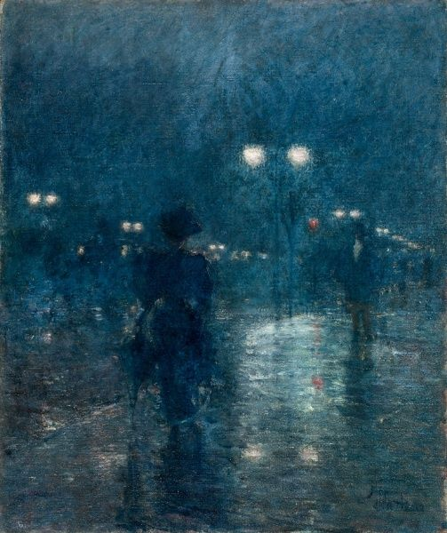 Childe Hassam - Fifth Avenue Nocturne, 1895, oil on canvas @Jan Rodd You've got some really great pins!!! Glad I found you! :) Love ya!