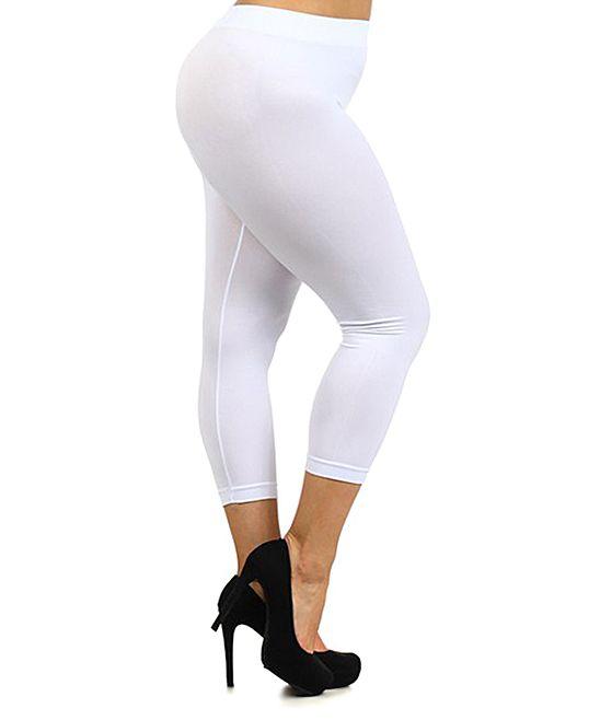 White Capri Leggings - Plus