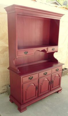 Red spray painted hutch with black glaze - this is the look for my hutch