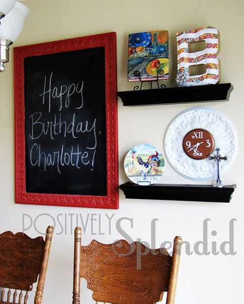 Kitchen Decor Updates New Shelving And Chalkboard For