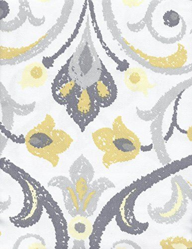Cynthia Rowley Baaman Grey And Yellow Floral Scroll Fabric