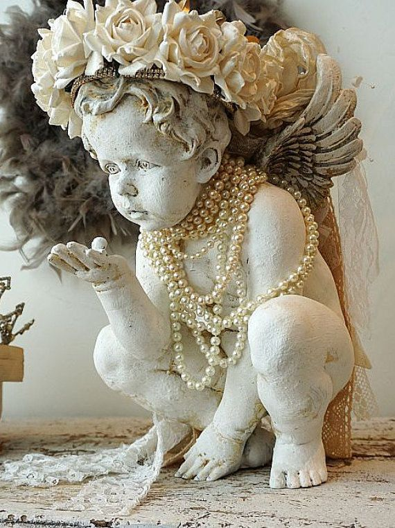 White distressed cherub statue w/ handmade vanilla rose crown shabby cottage chic angelic figure embellished pearls decor anita spero design