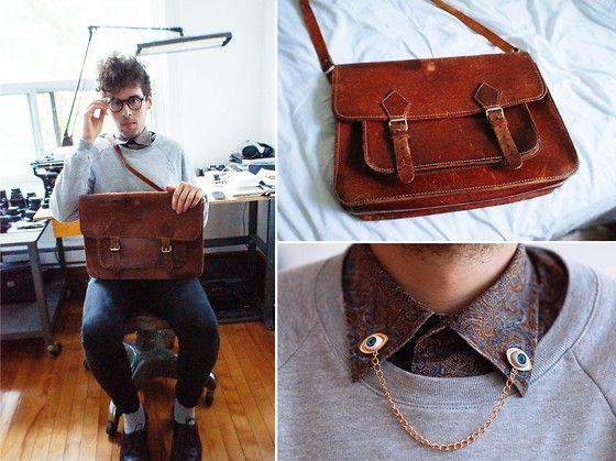 Moscot Glasses, Pierre Cardin Vintage Shirt, Romwe Eye Collar Chain, American Apparel Sweater, American Apparel Jeans, Vintage Shoes