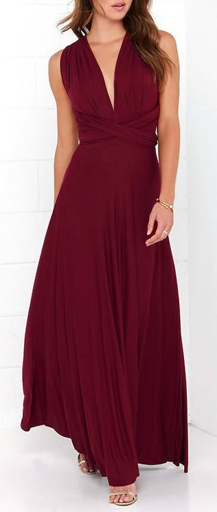 """Versatility at its finest, the Tricks of the Trade Burgundy Maxi Dress knows a trick or two... or four! Two, 74"""" long lengths of fabric sprout from an elastic waistband and wrap into a multitude of bodice styles including halter, one-shoulder, cross-front, strapless, and more. Stretchy, jersey knit hugs your curves as you discover new ways to play with this fascinating frock.  #lovelulus"""