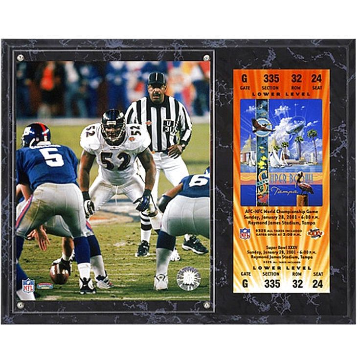 "Ray Lewis Baltimore Ravens Fanatics Authentic 12"" x 15"" Super Bowl XXXV Sublimated Plaque with Replica Ticket - $31.99"