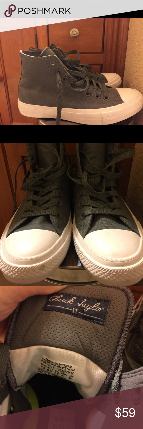 Grey Converse All Star II - High Tops • Worn once! • In EXCELLENT CONDITION!  • Super cute, comfy! Selling cause it doesn't look good on me ☹️ • Perfect for work, lounging, going out, running errands!  • Size: Women's 9.5, Color: Grey  • Bundle 2 or more items to get 20% off your entire purchase! 😊  • Price is firm!   🚫NO LOWBALLING🚫 🚫NO HOLDS/TRADES🚫 Converse Shoes Sneakers