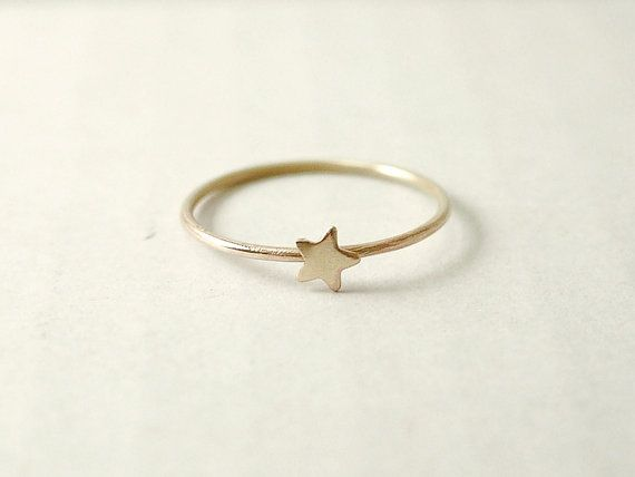 Tiny star ring  raw brass  whimsical dainty jewelry by illusy, $21.00