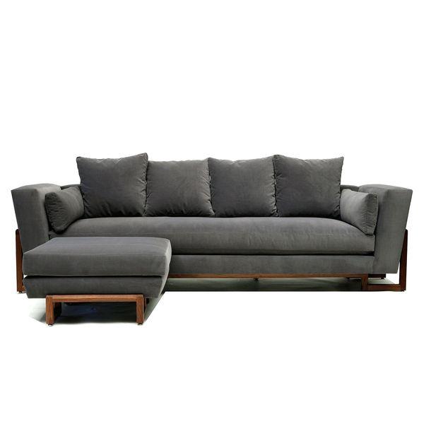 LRG Sofa & Ottoman Gray
