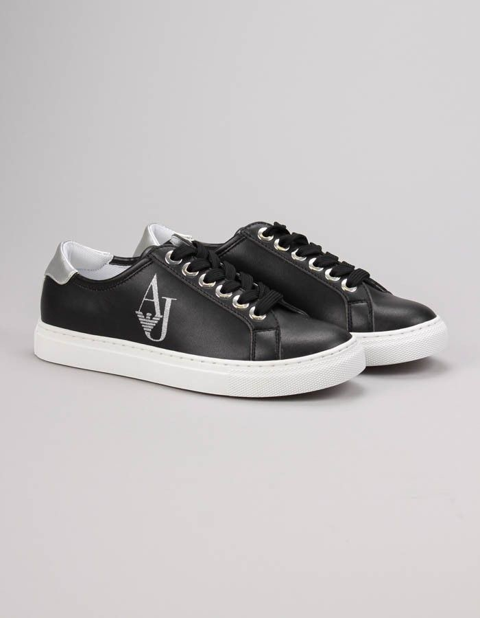 Armani Jeans Black AJ Crystal Sneakers | Accent Clothing