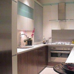 Narrow walnut veneer kitchen designed by Candi Kitchens
