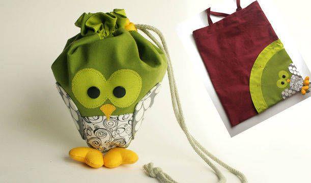 Nähanleitung und Schnitt Einkaufstaschenverstecker Eule - Schnittmuster und Nähanleitungen bei makerist