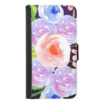 Purple Watercolor Floral Pretty Flowers Samsung Galaxy S5 Wallet Case - flowers floral flower design unique style