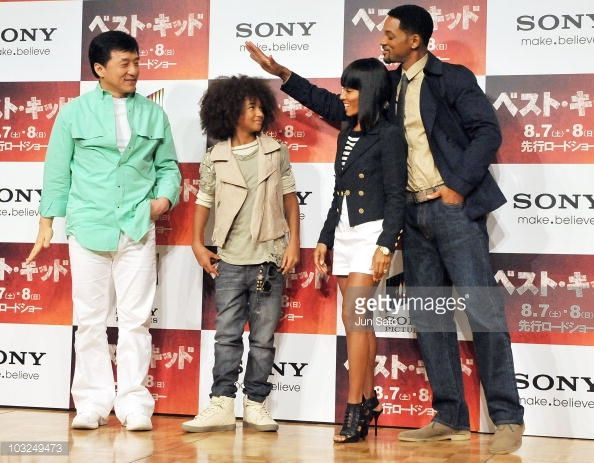 Actors Jackie Chan Jaden Smith producers Jada Pinkett Smith and Will Smith attend a 'The Karate Kid' press conference at The Ritz Carlton Tokyo on...