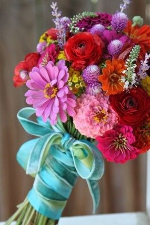 Bold and bright bouquet with pink zinnias @myweddingdotcom