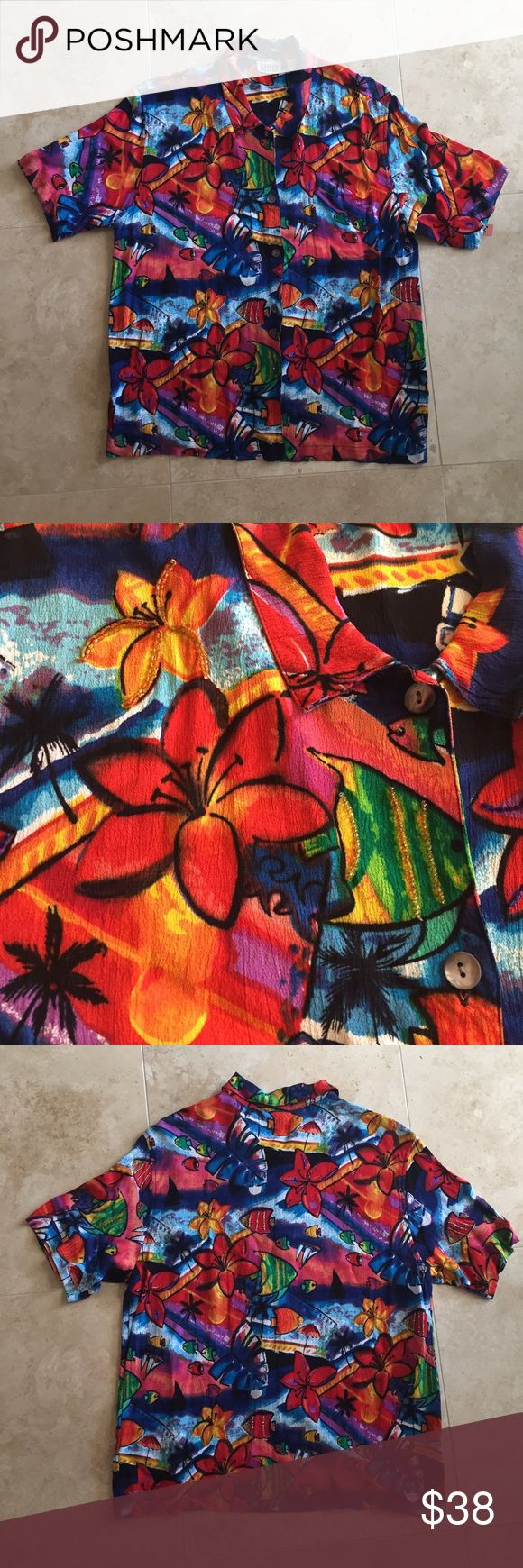 Chicos Hawaiian aloha beaded novelty print XL Beautiful vibrant Hawaiian tropical print with beading and sequins randomly place. Some beading/sequins may be missing, but is unnoticeable since of the random placement.  Measurements:  Length: ~27inches Armpit-armpit ~22.5inches Sleeve ~5inches (Measured from armpit) Chico's Tops Button Down Shirts