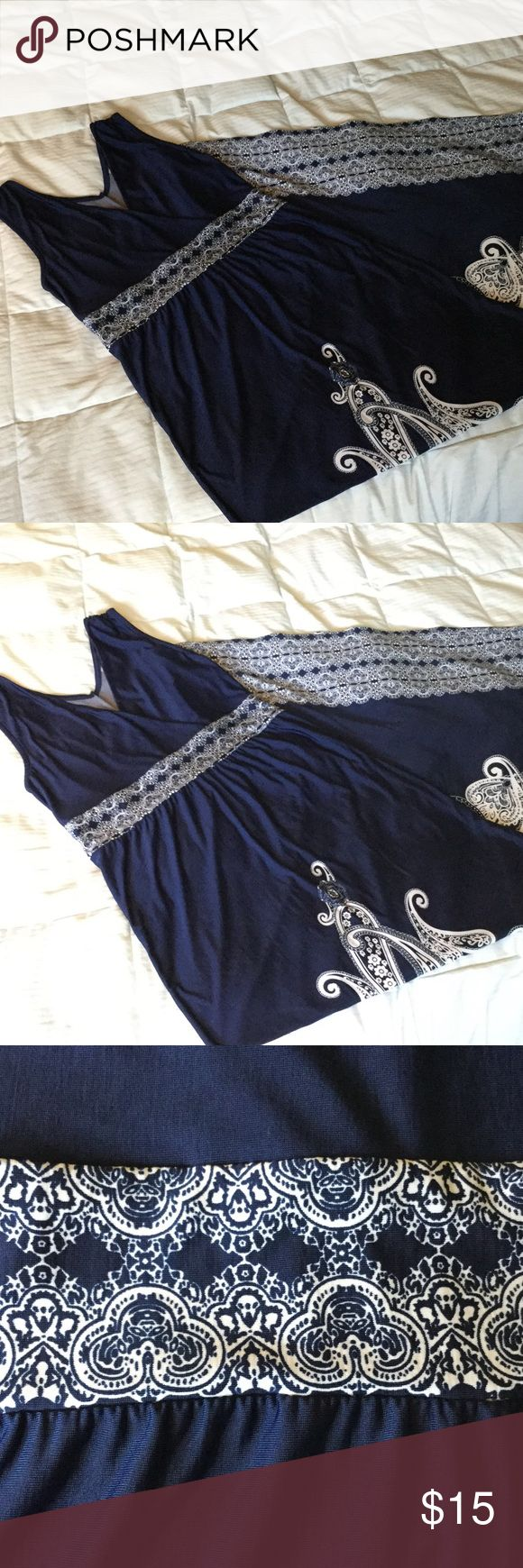 """Maxi Dress Navy blue and white maxi dress. Length will fit person 5'4"""" or taller, but could easily be hemmed. Lightweight and has a nice bit of stretch. Empire waist. Just Love Dresses Maxi"""
