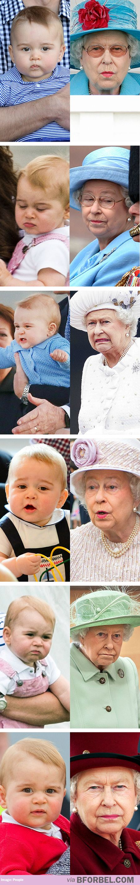Prince George vs. Queen Elizabeth ~ he has some of the same expressions - lol