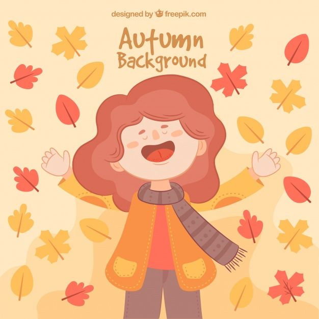 Free vector Fun backgroud with happy woman and autumnal leaves #22569
