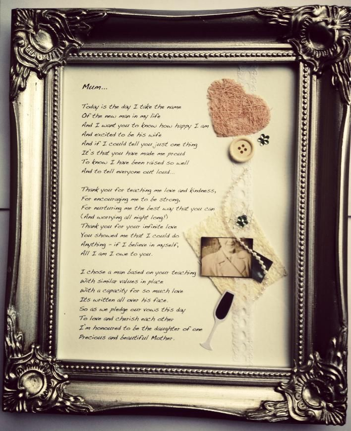 Wedding Day Gifts For Mother Of The Bride : ... bride framed poem wedding poems mother of the bride gift wedding gifts