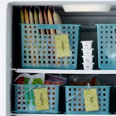 Organized freezer: Soups, Freezers Storage, Organizations Ideas, Freezers Meals, Baskets, Organizations Freezers, Freezer Organization, Freezers Organizations, Freezers Ideas