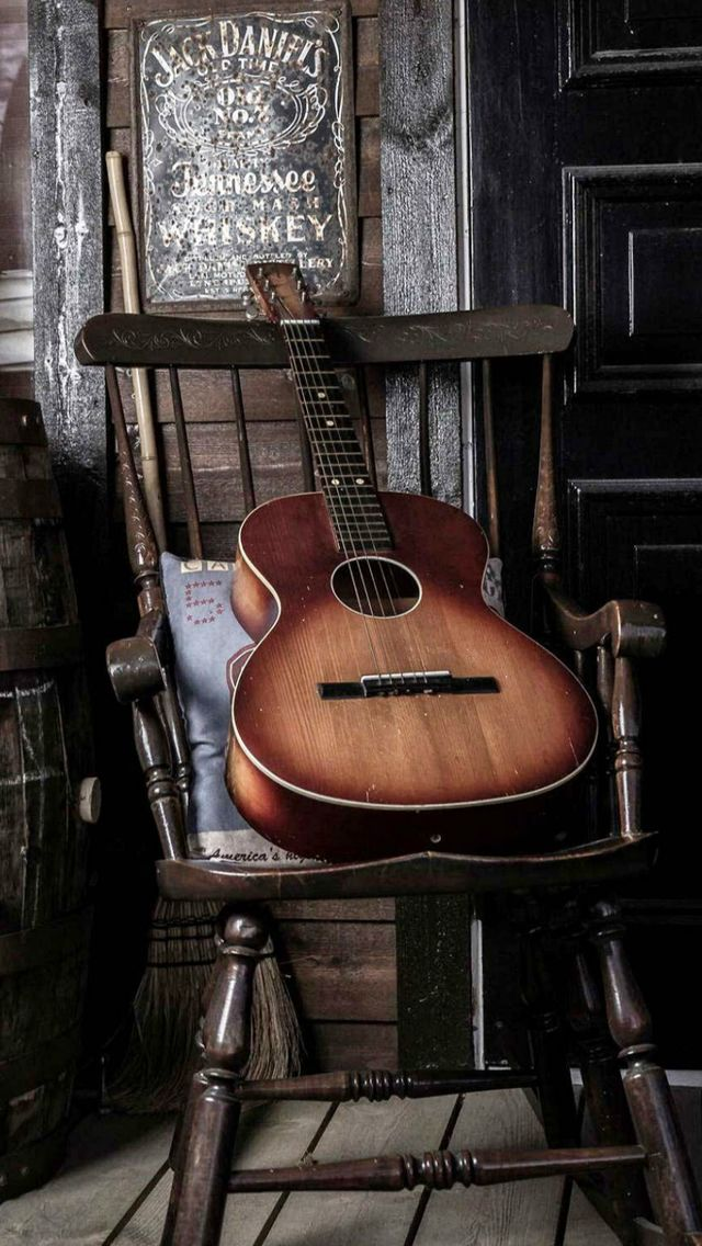 Old Guitar On Chair #iPhone #5s #wallpaper