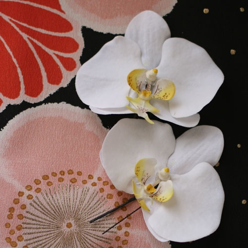 Rakuten: Two Orchis graminifolia hair ornament sets [white]- Shopping Japanese products from Japan
