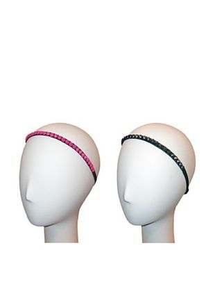56% OFF Marie Hayden Women's Elastic Spike Headband Set, Pink/Gunmetal, One Size