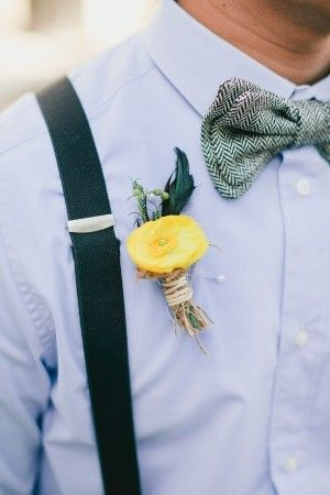 not normally a fan of bow ties and suspenders but this is nice. Yellow Boutonniere, bow-tie and suspenders   photography by http://connielyu.com/