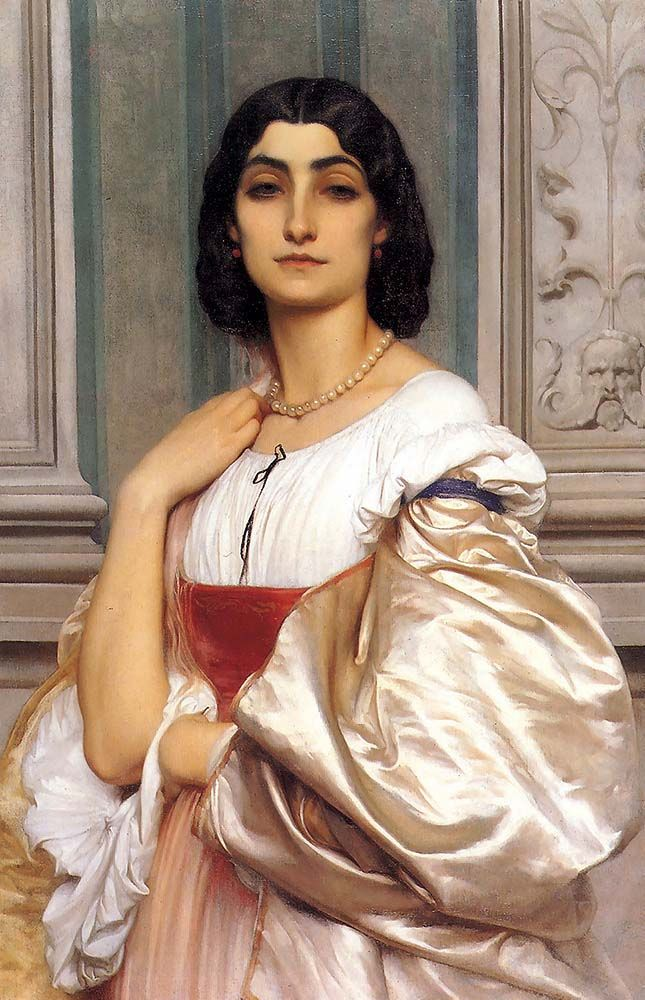 """leighton frederick roman lady la nanna 1858 59 (from <a href=""""http://www.oldpainters.org/picture.php?/28956/category/12790""""></a>)"""