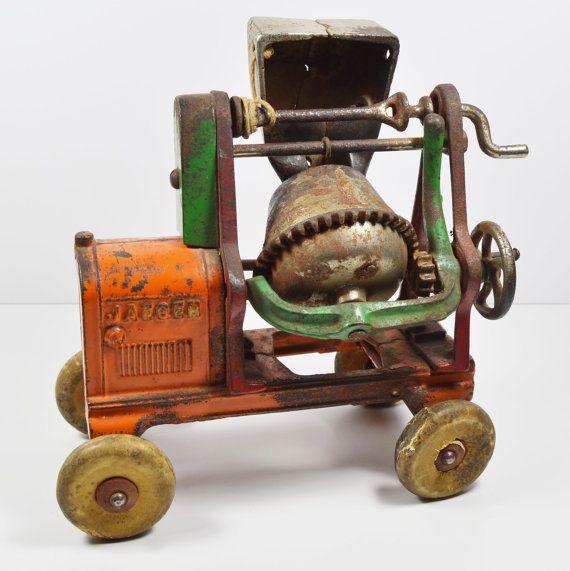1920's Vintage Cast Iron Toy. Orange Green Red by ElysianVintageMN