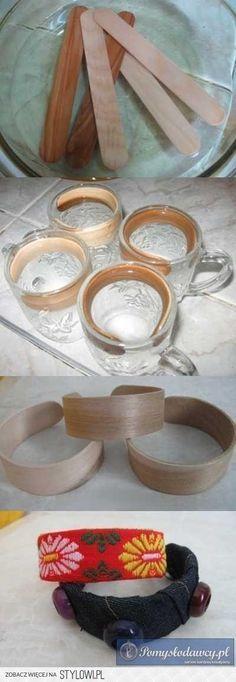 Soak sticks in vinegar to bend, steam probably work also. bransoletki z patyczków po lodach na Stylowi.pl