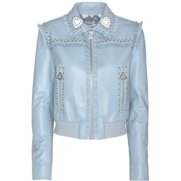 Miu Miu Embellished Leather Jacket ($3,300) ❤ liked on Polyvore featuring outerwear, jackets, blue, studded leather jacket, real leather jackets, sparkly jacket, leather jackets and studded jacket
