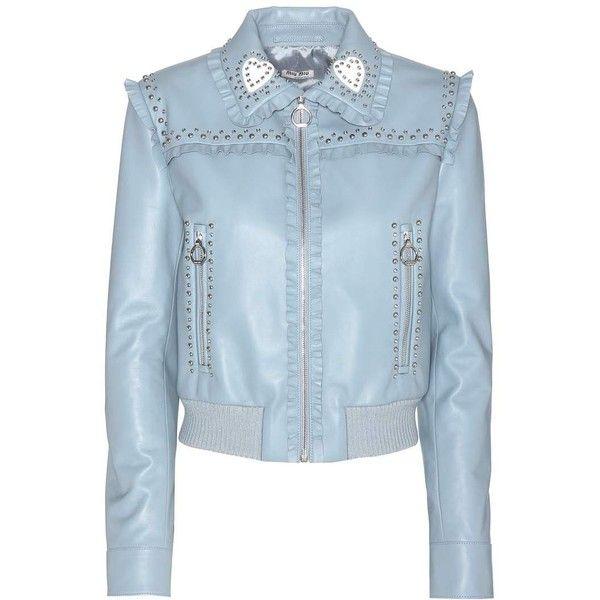Miu Miu Embellished Leather Jacket ($3,465) ❤ liked on Polyvore featuring outerwear, jackets, miu miu, blue, leather, embellished leather jacket, real leather jackets, 100 leather jacket and blue jackets