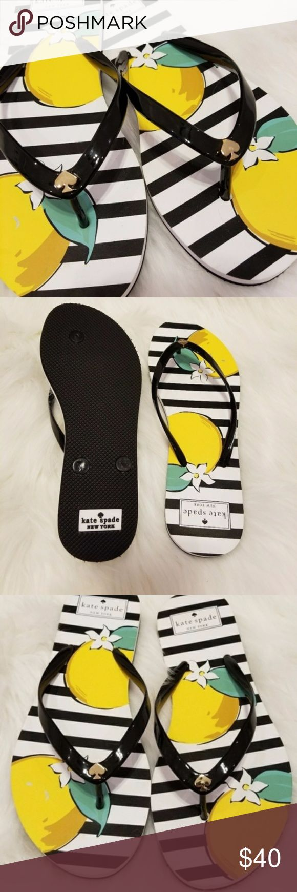 NWOB KATE SPADE stripe flip flops SIZE 7 New without box. Kate Spade summer days black and white stripe flip flops with flower design.  New from smoke and pet free home. kate spade Shoes