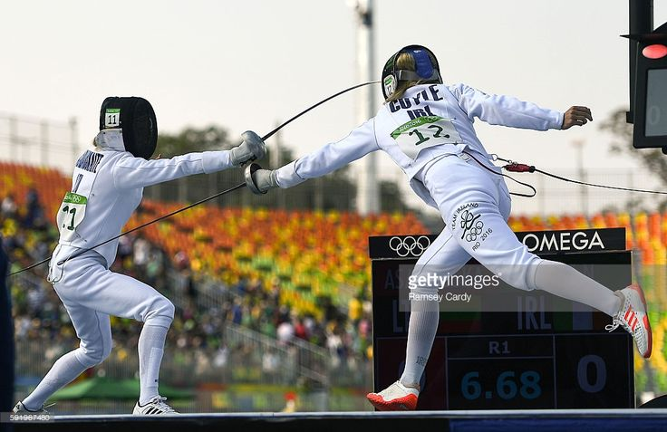 Rio , Brazil - 19 August 2016; Natalya Coyle of Ireland competing against Chloe Esposito of Australia during the fencing bonus round of the Women's Modern Pentathlon in Deodora Stadium during the 2016 Rio Summer Olympic Games in Rio de Janeiro, Brazil. Chloe went on to win gold. Australia's 8th Gold Medal in Rio.