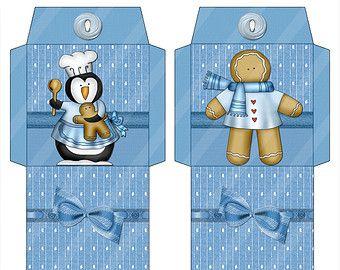 Té para imprimir digital Wrappers invierno amigos tema