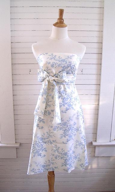 Blue Toile bridesmaid dress?