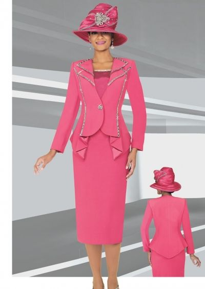 Ben Marc 47707 Womens Embellished 3pc Church Suit- BEN MARC 47707 WOMENS CHURCH SUIT  Women's embellished three piece church suit features a 27 inch jacket and 32 inch skirt. MATCHING HAT 47707-H sold separately for $177.99
