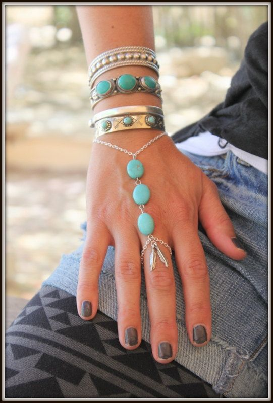 Fabulous silver and Turquoise Thumb finger by handmadebyinali