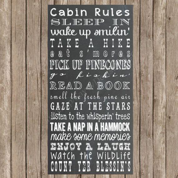Chalkboard Rules Printable - Cabin Rules - Digital Wall Art